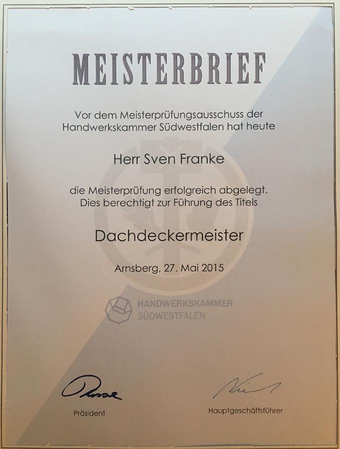 Meisterbrief von Sven Franke