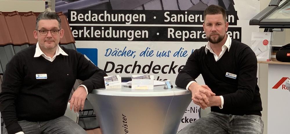 Dachdeckermeister Sven Franke und Dachdeckermeister Aljoscha Müller